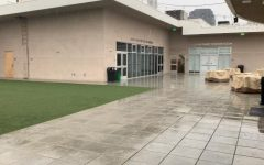 WET: Rain pummelled the rooftop turf March 12, 2020. The roof is now home to the Leah, Yaakov, Rachel, Avraham, and Sarah open-sided tents where Judaic Studies classes are held for those who want to learn on campus during Covid.