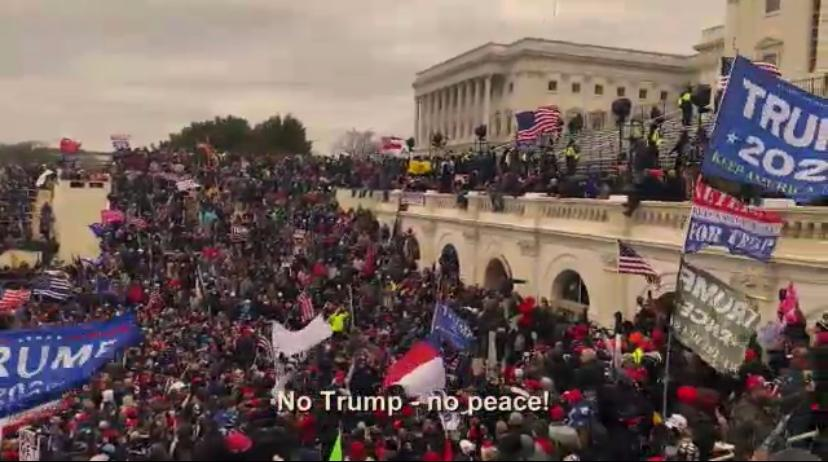 "ABHORRED:  In video shown Feb. 9 at former President Trump's impeachment trial, his supporters shouted ""No Trump, no peace!"" as they marched up the Capitol steps Jan. 6 hoping to stop the certifying of electoral votes from the November election. Shalhevet students were unanimous in condemning the action."