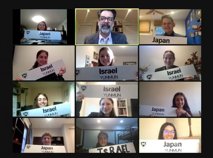 COUNTRIES: Shalhevet's debaters represented Israel and Japan at last month's Yeshiva University Model UN conference, held Feb. 14-15 over Zoom. Dr. Harris took this screen shot of a team meeting just before the conference began.