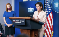 REVIEW: At a White House briefing April 7, Commerce Secretary Gina Raimondo, right, said policy toward TikTok is under active by the White House, along with the huge Chinese company Hauwei. Ms. Raimondo was introduced by White House Press Secretary Jen Psaki, left.