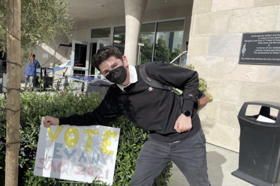 FIRST: Sophomore Evan Beller, running for vice-chair of the Student Activities Committee, was the first person to bring a physical sign to school to campaign. Just Community elections are scheduled for this Friday, after a morning showing of campaign videos. Agenda Chair candidates will debate Thursday.