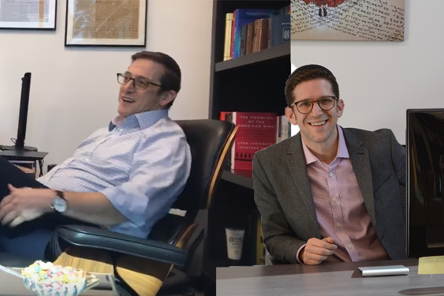 TRANSFER: Rabbi Ari Segal (left) became Head of School in 2012.  New Head of School Rabbi David Block (right), who was announced as the next head of school in 2019, says he'll stay in his old office for now and move into Rabbi Segal's next fall.