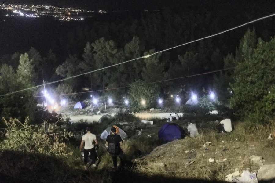 TENTS: Some who celebrate Lag BOmer on Mount Meron arrive early and camp out in the hills before it starts, Shalhevet alumni said.