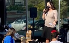 SERVICE: Mrs. Hametz gave instructions at a pie-baking event for Thanksgiving last November in the parking lot. She arrived at Shalhevet in 2019 and will teach at Berman Hebrew Academy this fall.