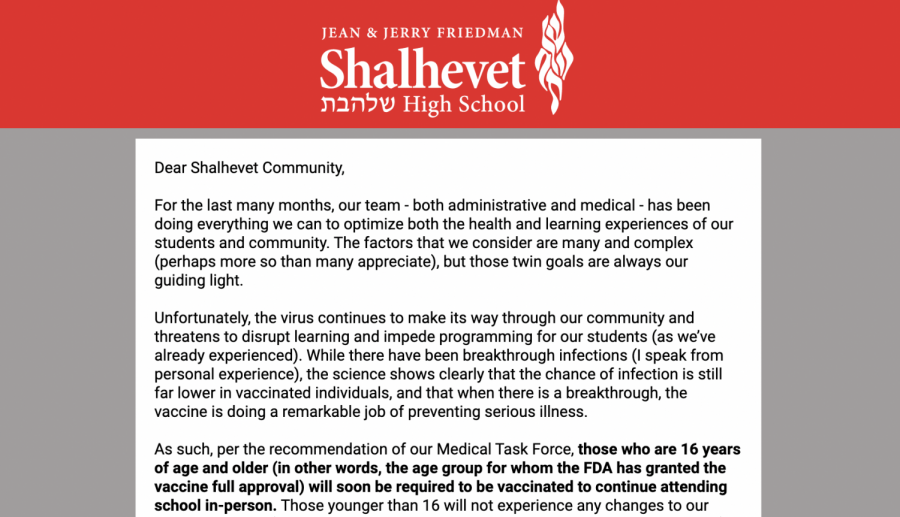 Administration announces vaccine mandate for students 16 and up